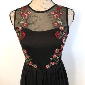 Xhilaration Floral Embroidered Black Lace Dress XS
